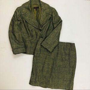 Escada Wool & Silk Green Tweed Plaid Career Suit
